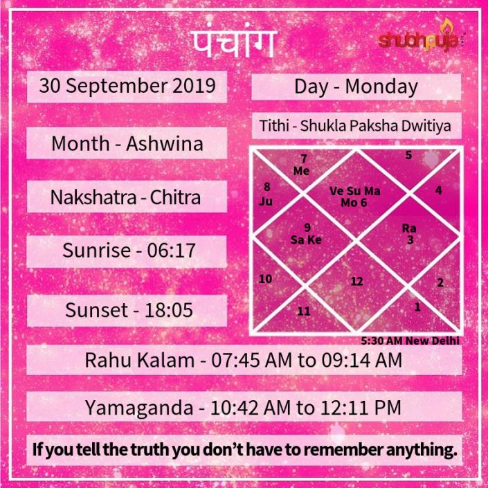 Shubhpuja.com 30 September panchang